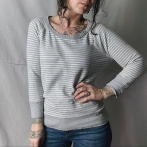 JAMES PERSE Striped Sweatshirt Tee Grey Cream 2